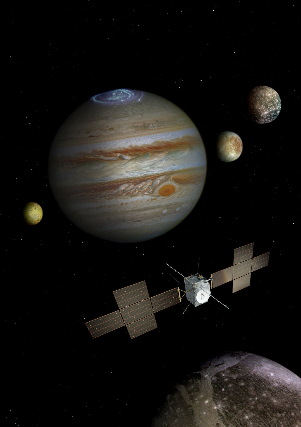 The ESA-Mission JUICE shall explore the Jovian system. To be launched in 2022 the spacecraft will arrive at Jupiter in 2030. After some initial flybys at the moons Europa, Ganymede, and Callisto JUICE will intensively study the Jovian atmosphere and the plasma environment (Jovian Magnetosphere). The main phase of the mission is dedicated to the moon Ganymede since JUICE will for the very first time ever in history enter in an orbit around an outer planet's moon and study the moon's surtface, its subsurface ocean, and its interaction with the Jovian magnetosphere.