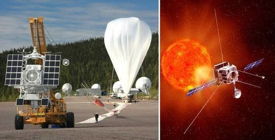 <p>The balloon-borne solar observatory Sunrise observes the Sun from the stratosphere (left). The Solar Orbiter mission of ESA will approach the Sun from 2017 onwards as close as no other space probe before (right).</p>