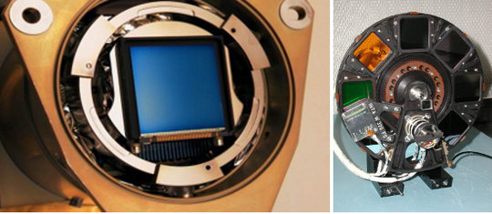 Left: the CCD of OSIRIS, Right: the filter wheel