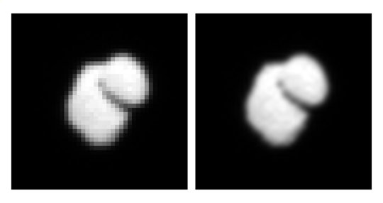 An image of comet 67P/Churyumov-Gerasimenko (left) obtained on July 14th, 2014 and the corresponding interpolated data (right). The left image was taken by OSIRIS, the mission's onboard scientific imaging system, from a distance of approximately 12000 kilometers. <br /><br />