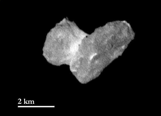 The nucleus of comet 67P/Churyumov-Gerasimernko as seen from a distance of 1950 kilometers on July 29th, 2014. One pixel corresponds to approximately 37 meters. The bright neck region between the comet's head and body is becoming more and more distinct. <br /><br />