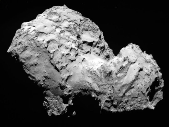 This image of comet 67P/Churyumov-Gerasimenko that was obtained on August 3rd, 2014 shows very different surface structures such as steep slopes and wide planes.