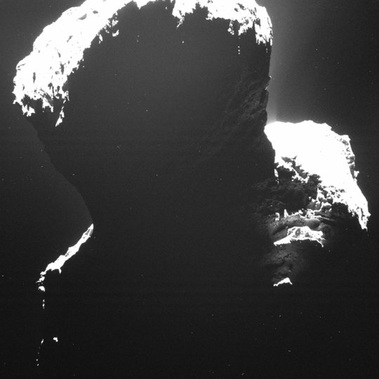 A rare glance at the dark side of comet 67P/Churyumov-Gerasimenko. Light backscattered from dust particles in the comet's coma reveals a hint of surface structures. This image was taken by OSIRIS, Rosetta's scientific imaging system, on September 29th, 2014 from a distance of approximately 19 kilometers.  <br /><br />