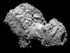 <p>This image of comet 67P/Churyumov-Gerasimenko was taken on August 3 2014 with the camera system OSIRIS on board the ESA Rosetta mission.</p>