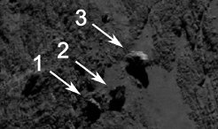 Scientists from Rosetta's OSIRIS team have discovered an extraordinary formation on the larger lobe of comet 67P/Churyumov-Gerasimenko in the Aker region. From a group of three boulders the largest one stands out: images obtained on 16 September 2014 show it to perch on the rim of a small depression. <br /><br />