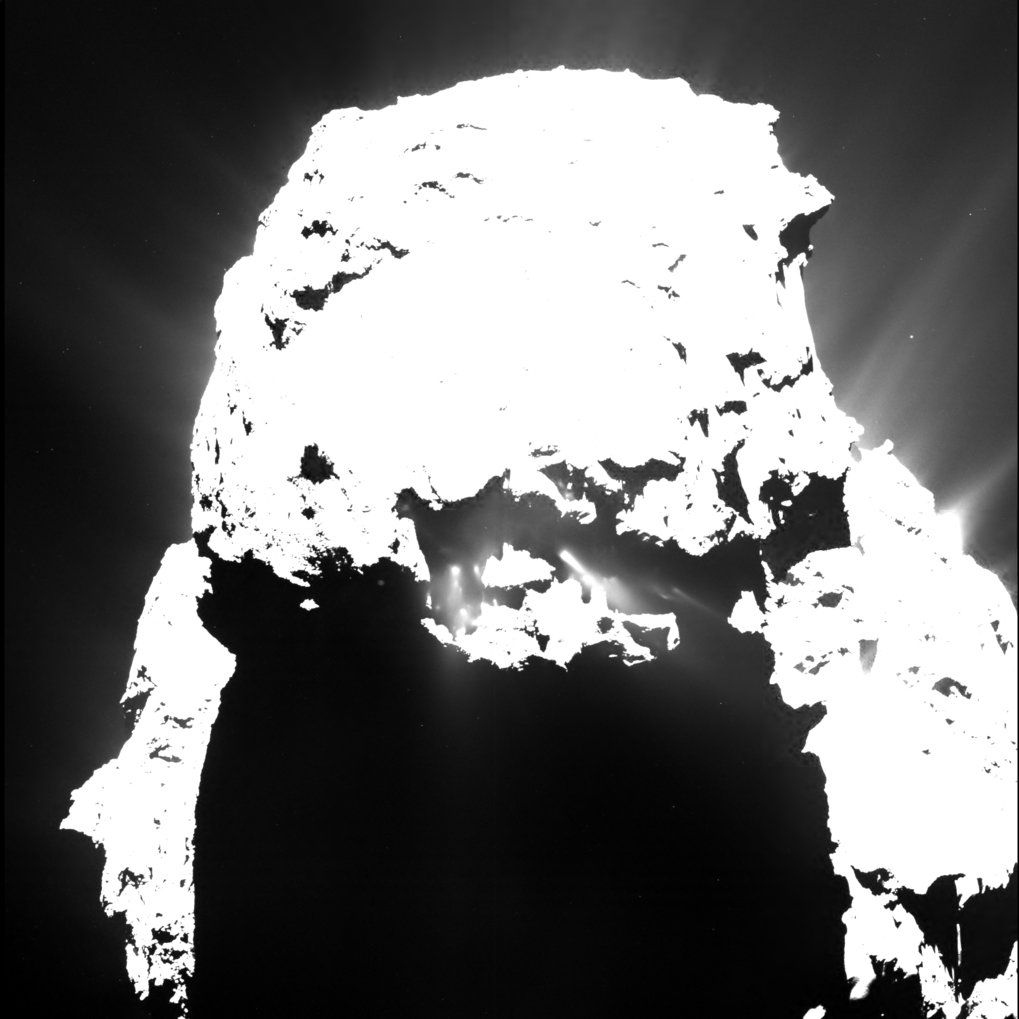 This image of Rosetta's comet taken on 25 April, 2015 from a distance of approximately 93 kilometers shows clearly distinguishable jets of dust after nightfall.