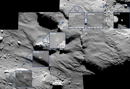 The last moments of Philae's descent, the imprint of its touchdown, and subsequent drift away from Agilkia was captured by Rosetta's OSIRIS camera. All times in UT onboard spacecraft time.<br /><br />