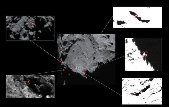 Approximate locations of five lander candidates initially identified in high-resolution OSIRIS Narrow Angle Camera images taken in December 2014, from a distance of about 20 km from the centre of Comet 67P/C-G. The candidates are circled in the close-ups, identifying Philae-sized features approximately 1–2 m across. The contrast has been stretched in some of the images to better reveal the candidates. All but one of these candidates (top left) have subsequently been ruled out of consideration due to constraints including the reconstructed lander trajectory and topography at the landing site. The candidate at top left lies near to the current CONSERT ellipse. <br /><br />