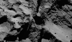 Cavities measuring up to a few hundred meters in diameter can be found under the surface of Rosetta's comet. They can be instable and collapse in a kind of sinkhole process. This is the result of a new study led by researchers from the MPS in Germany, which analyses images of the comet's surface. The images show peculiar, pit-like recesses.