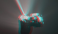 For the first time since its arrival at comet 67P, OSIRIS has observed a dust jet emitted from the comet in a fashion that allows to create a three dimensional anaglyph of the feature. The jet occurred a day before perihelion in phase of high cometary activity.