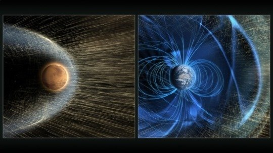 Solar wind reaches the upper atmosphere of Mars while the Earth atmosphere is protected bz the Earth magnetic field. (Image @NASA/GSFC).