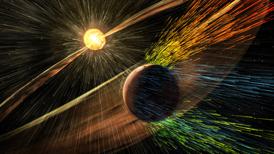 Electric fields extract ions from the Martian atmosphere. (Image @NASA/GSFC).