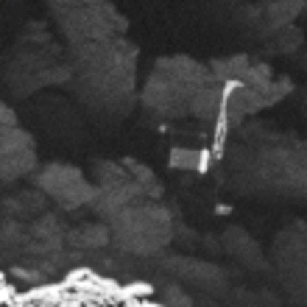 Philae at the surface of comet 67P/Churyumov-Gerasimenko. The image was taken with the Osiris Narrow Angle Camera on 2 September 2016 from a distance of 2.7 km from the nucleus surface. Image resolution is about 5 cm per pixel.