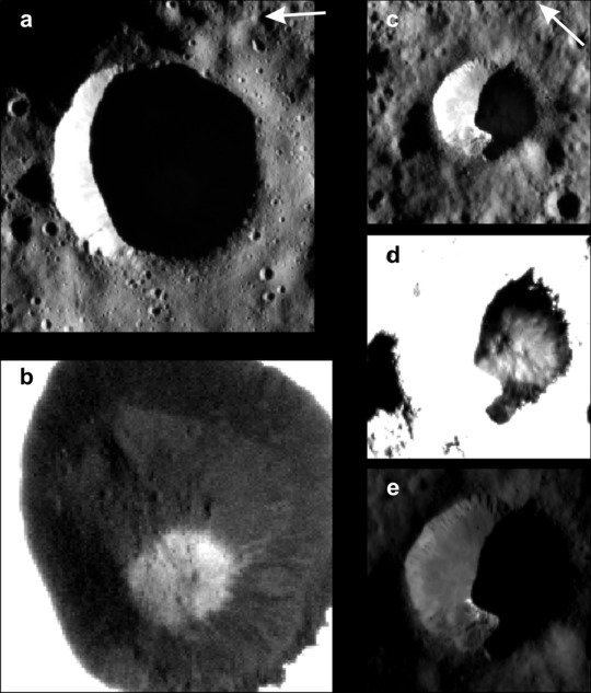 Crater No. 1, whose interior has a large region in permanent darkness (a). In the weak scattered light, the framing cameras can make out bright deposits of ice (b). Crater No. 2 with its dark region is shown in Figures (c) to (e). The ice shown in (d) extends into the region with direct illumination (e). <br /><br />