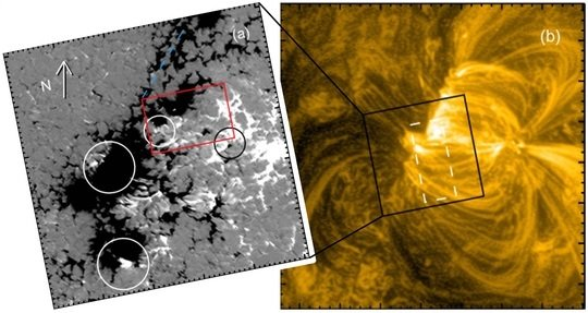 Magnetic structure at the footpoints of coronal loops revealed. The left panel shows the magnetic field as observed by IMaX/Sunrise at the footpoints of coronal loops seen by AIA/SDO in the right panel. While in general the loops are rooted on one side in a plage area dominated by one magnetic polarity (black), the footpoints of coronal loops (white circles) are found at places where also small parasitic opposite polarities (white) are present. This shows that small-scale reconnection plays a key role for the energization of coronal loops that is much more prominent than thought before.