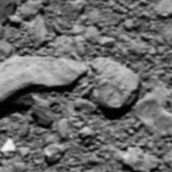 A final image from Rosetta, shortly before it made a controlled impact onto Comet 67P/Churyumov–Gerasimenko on 30 September 2016, was reconstructed from residual telemetry. The image has a scale of 2 mm/pixel and measures 1 m across.<br /><br />