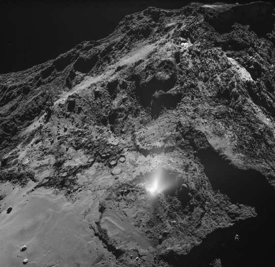 A plume of dust from comet 67P/Churyumov-Gerasimenko, seen by the OSIRIS wide-angle camera on ESA's Rosetta spacecraft on 3 July 2016. The plume originates from the Imhotep region. <br /><br />