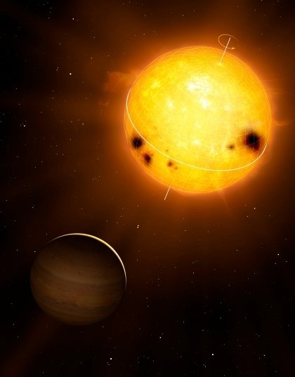 Star-planet system HD52265 observed by the COROT satellite. <br /> <em>(Image: Mark A. Garlick / markgarlick.com)</em>
