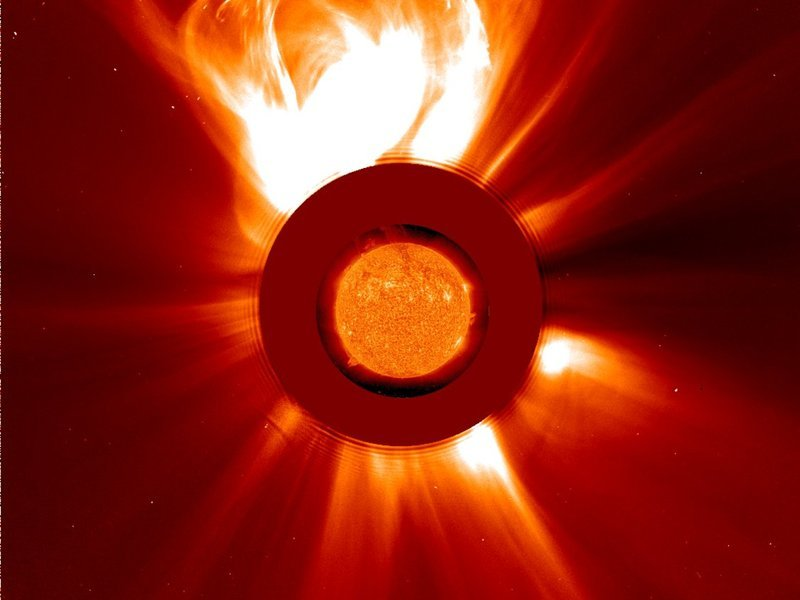 <p><em>Spectacular coronal mass ejection (CME) observed with the LASCO instrument on board the SOHO spacecraft. Giant gaseous clouds are ejected at speeds of up to seven million kilometers per hour and can result in strong magnetic disturbances on Earth.</em></p>