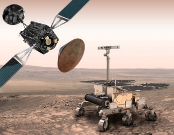 The ExoMars 2020 spacecraft and the Mars Rover on the surface of Mars (artist conception)