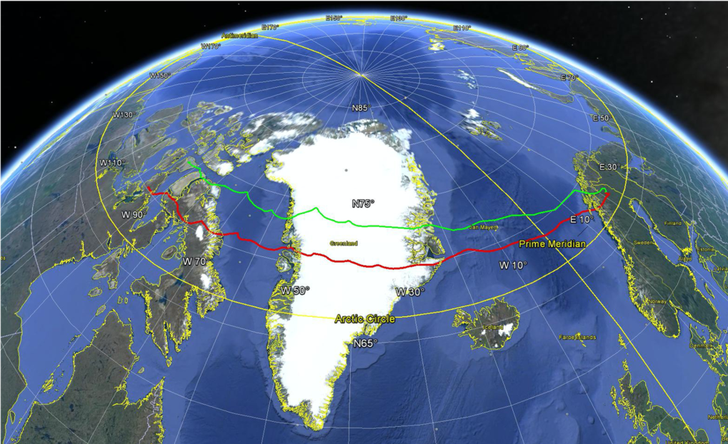 The ground trajectory of the second SUNRISE flight, June 12 - 17, 2013