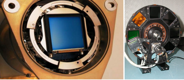 Left: the OSIRIS-CCD, right: the filter wheel