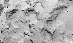 "The intended touchdown site of the Philae lander to be deployed by ESA's Rosetta space probe is almost in the centre of the ""head"" of the comet 67P/Churyumov-Gerasimenko. According to the Lander Team this region offers the best conditions for a safe landing followed by successful measurements when compared with other regions."