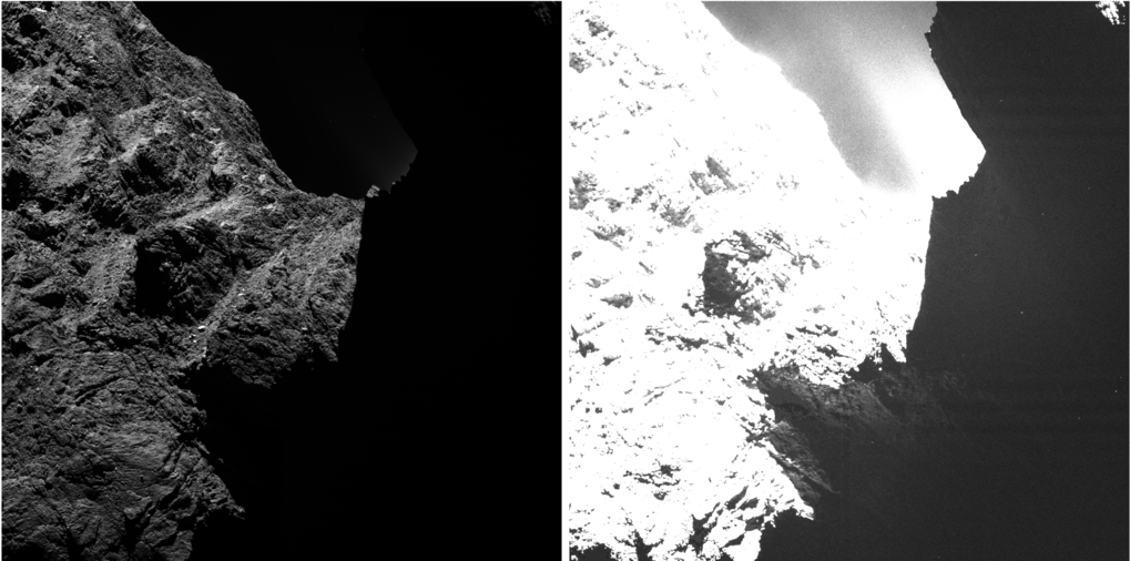 An image of comet 67P/Churyumov-Gerasimenko obtained on October 30th, 2014 by the OSIRIS scientific imaging system from a distance of approximately 30 kilometers and displayed with two different saturation levels. While in the left image the right half is obscured by darkness, in the right image surface structures become visible. <br /><br />
