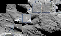 OSIRIS camera on board of the Rosetta spacecraft images the journey of the lander above the nucleus of 67P / Churyumov-Gerasimenko. After the Philae lander was separated from Rosetta on 12 November, it remained in view of its mother space probe.