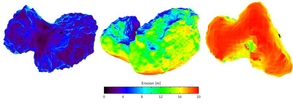 According to recent model calculations, the southern hemisphere (right image) of Rosetta's comet 67P/Churyumov-Gerasimenko could lose a dust layer of up to 20 meters during one orbit. The northern hemisphere (left and center images) is much less subject to erosion.