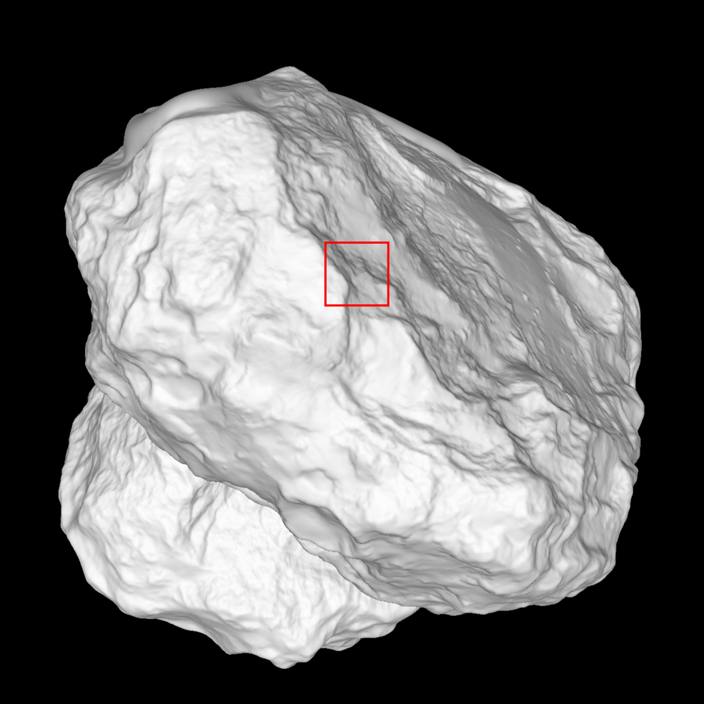 In this shape model of comet 67P/Churyumov-Gerasimenko the red square indicates which area on the comet's underside can be seen in the close-up captured on 14 February 2015 during Rosetta's close flyby. <br /><br />