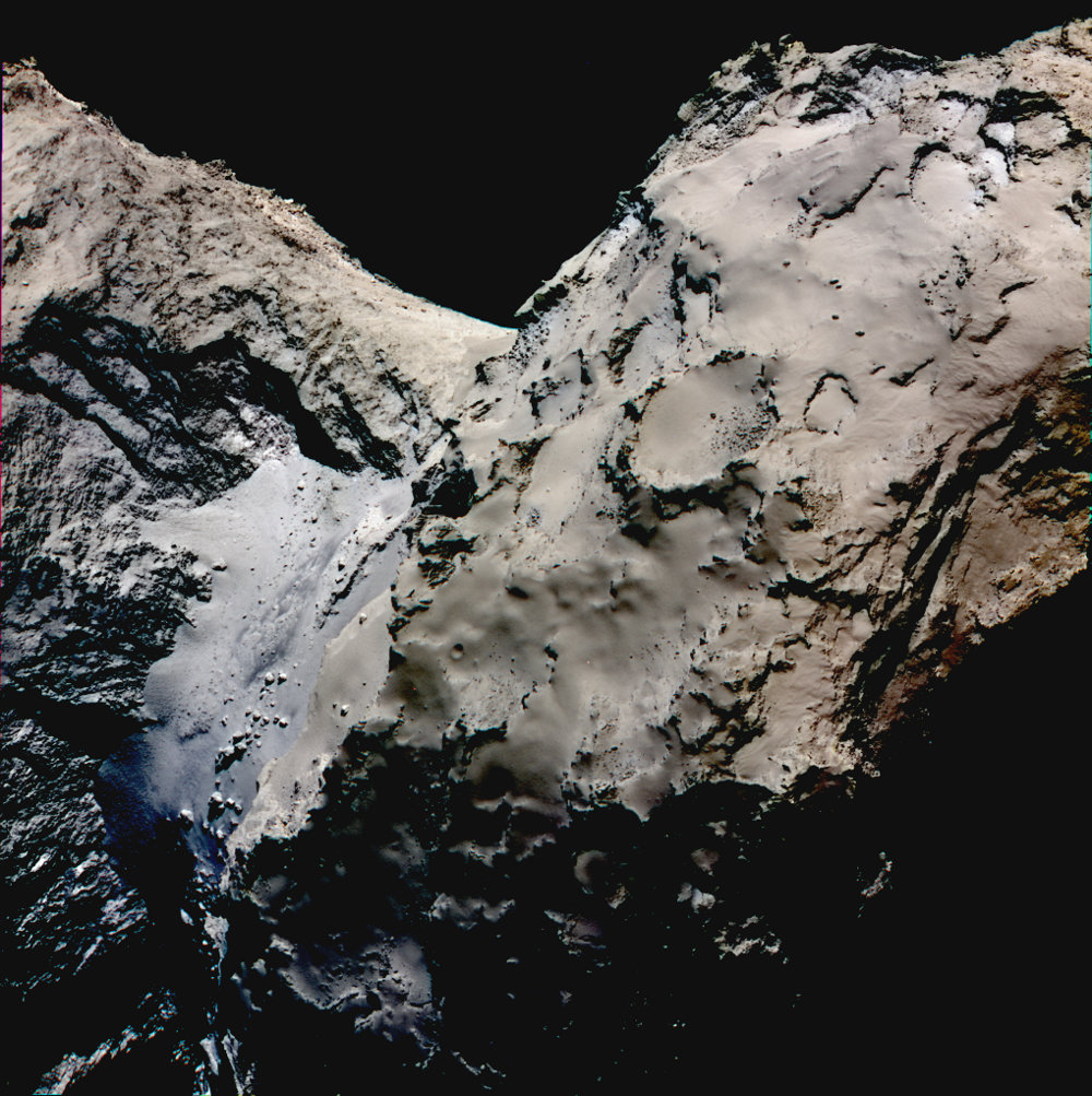 False color image showing the smooth Hapi region connecting the head and body of comet 67P/Churyumov-Gerasimenko. Differences in reflectivity have been enhanced in this image to emphasise the blueish color of the Hapi region. The scientific data was acquired on 21 August 2014 by the scientific imaging system OSIRIS successively with the filters centered at 989, 700 and 480 nanometers and the images then superposed. During these observations Rosetta was 70 km far away from the comet.
