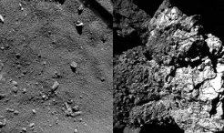 The surface dust of Rosetta's comet 67P/Churyumov-Gerasimenko contains a wide variety of organic molecules. Researchers led by the Max Planck Institute for Solar System Research in Göttingen have been able to detect a total of 16 compounds in measurement data from the COSAC instrument which were recorded shortly after the Philae lander first touched down on the surface of the comet on 12 November 2014. Many of the substances are considered to be key molecules for biochemical reactions – in the creation of sugars or amino acids, for example. Thecurrent edition of the journal Science is dedicating a total of eight articles to these and further results of Rosetta's landing mission. In a further publication, researchers working with the Max Planck Institute for Solar System Research reconstruct what precisely happened during the landing. The calculations allow conclusions to be drawn about characteristics of the comet's surface. While Philae first touched down in a soft, dusty region, its final landing place is much firmer.