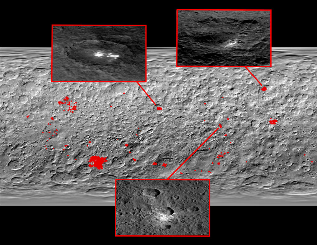 Mosaic of the surface: Most of the 130 bright spots (shown in red here) on the dwarf planet Ceres are associated with craters, as this image shows. Three zooms provide a closer look at these regions. Top left: A kind of haze appears above the Occator crater when the Sun shines in. Therefore, this could indicate that the crater contains frozen water beneath the surface. Top right: The Oxo crater is the second brightest structure on Ceres. A kind of haze can be found there as well. Bottom: A typical crater without water. The brightness originates from mineral salts which could have dried up over time.
