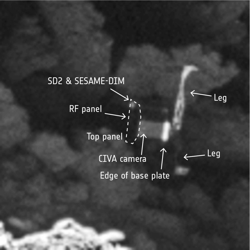 <p>Details von Philae. Einige Instrumente lassen sich erkennen: eine der CIVA-Panorama-Kameras, der Bohrer SD2 sowie SESAME-DIM (Surface Electric Sounding and Acoustic Monitoring Experiment Dust Impact Monitor).</p>