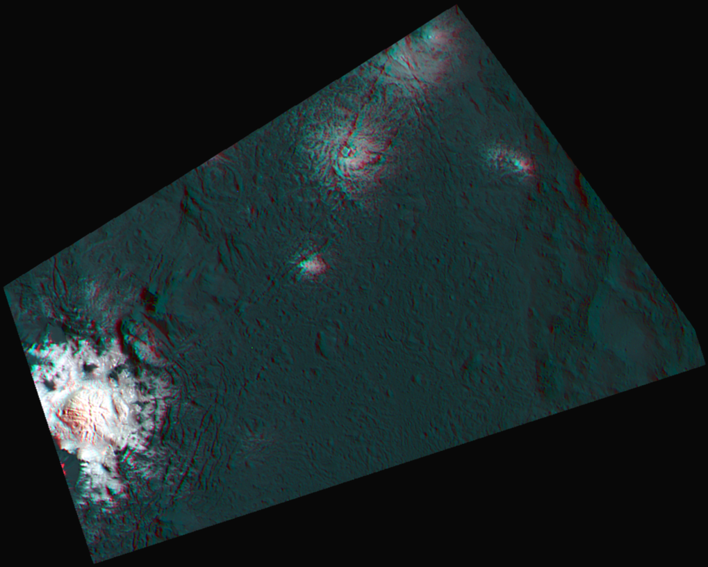 This 3d-anaglyph for the first time shows a part of Occator crater in a combination of anaglyphe and false-color image.