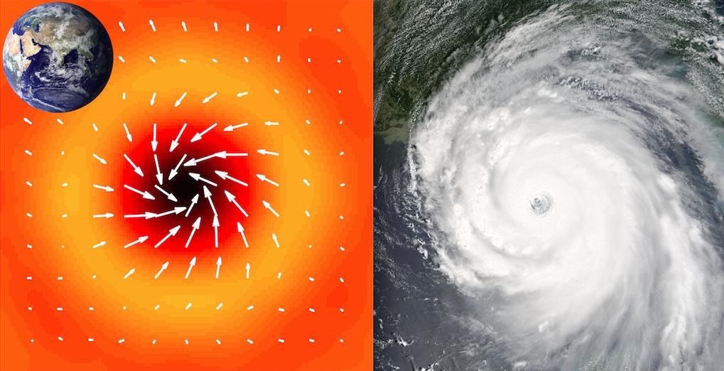 "The solar ""hurricanes"" (left) have a diameter of many thousands of kilometers and are much larger than typical hurricanes on Earth (right).  <br /><br />"