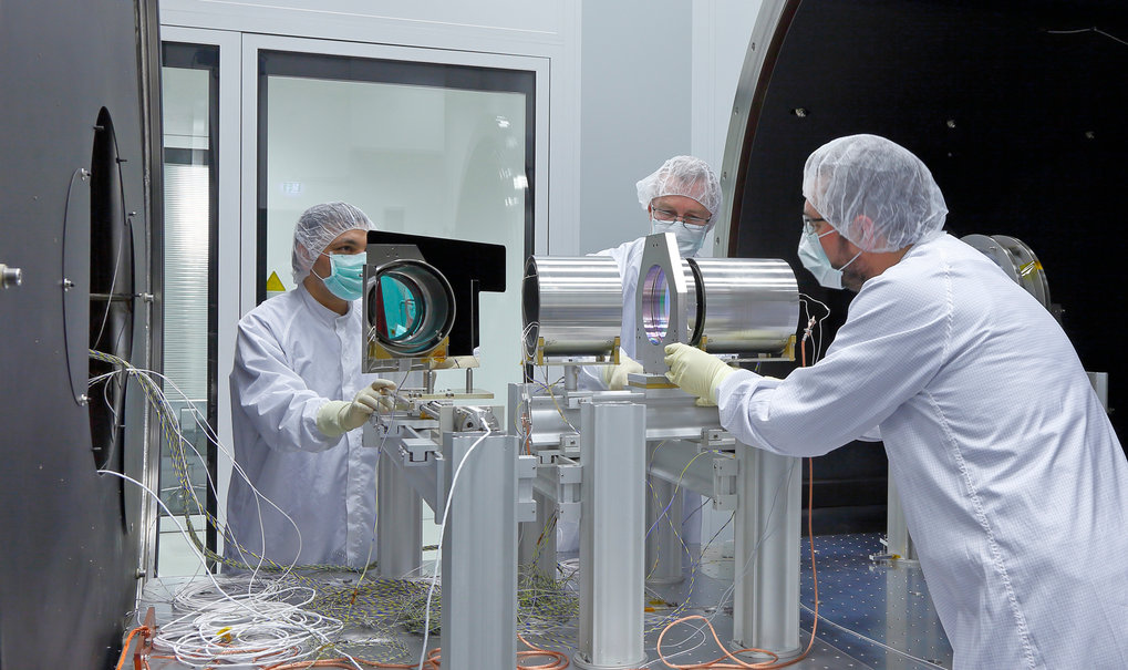 The space instruments are integrated in cleanrooms and subjected to various tests.