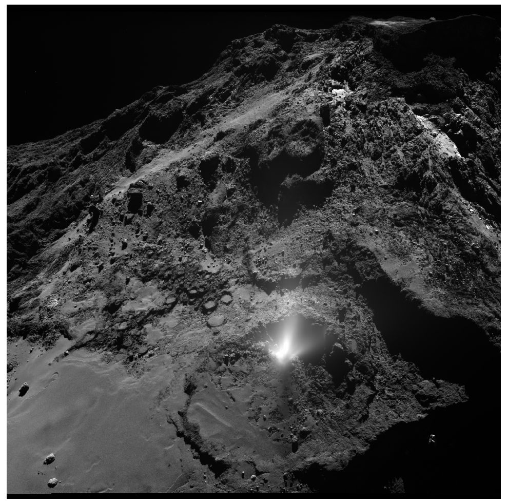 Dust plume on the surface of comet 67P. This small outburst of activity, lasting not longer than 1 hour, was observed by several instruments on board Rosetta on 3 July 2016 (Agarwal et al., 2017).