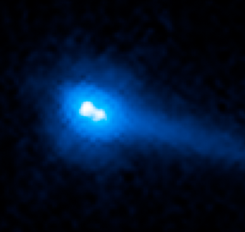 The active binary asteroid 288P (300163). This image obtained with the Wide Field Camera 3 of the Hubble Space Telescope on 22 August 2016 shows the binary asteroid system 288P while it is emitting dust near its perihelion passage. The dust, under the action of solar radiation pressure, forms a comet-like tail, and was likely released from the comet by sublimating water ice (Agarwal et al., 2017).