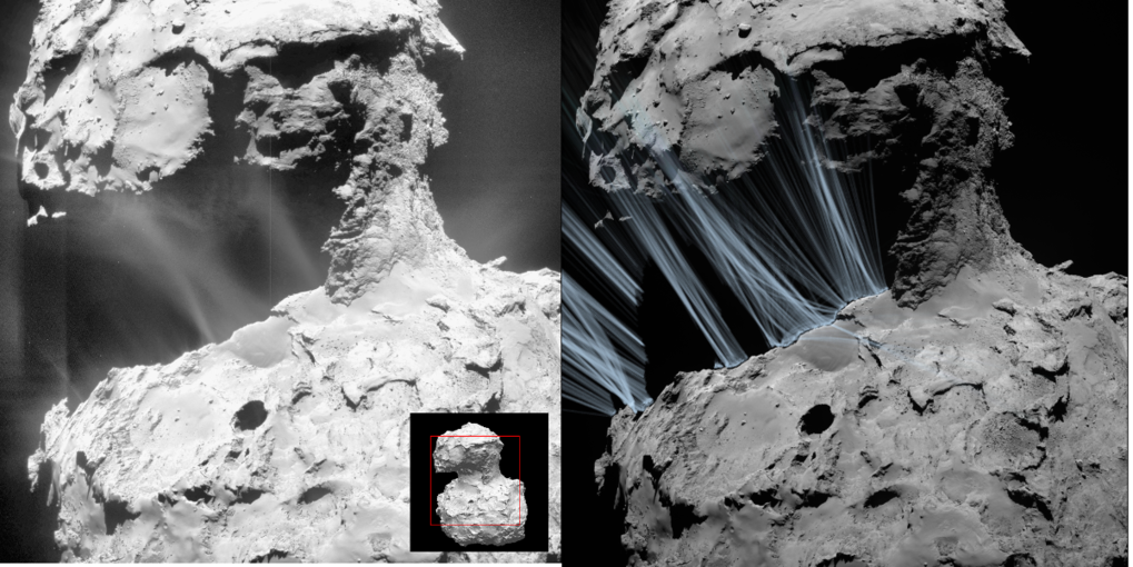 Left: Shortly after sunrise, impressive jets of gas and dust can be seen above the Hapi region on comet 67P/Churyumov-Gerasimenko. Right: Computer simulations reproduce these structures.
