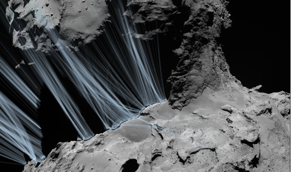 The irregular shape of the Rosetta comet determines the distribution of gas and dust in its atmosphere.