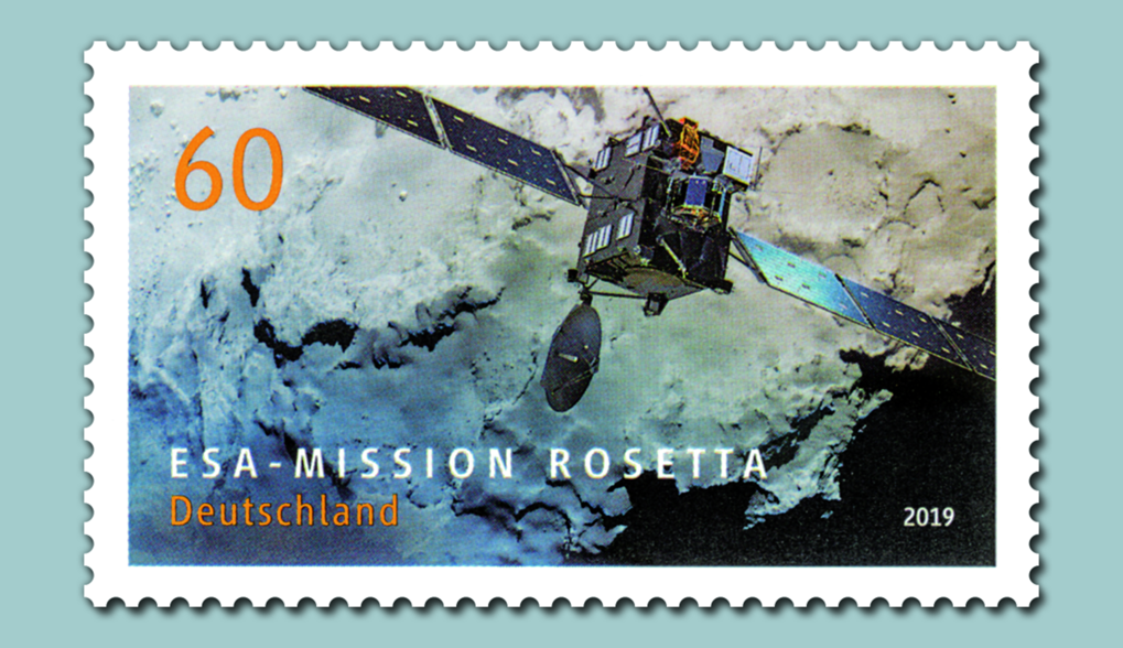 "The German postal service ""Deutsche Post"" has dedicated a stamp to ESA's comet mission Rosetta. The stamp with a value of 60 cents is officially released today as part of a special series of stamps devoted to topics related to space and astrophysics. In addition to the Rosetta spacecraft, the motif shows part of the surface of Rosetta's comet Churyumov-Gerasimenko captured by the onboard scientific camera system OSIRIS."