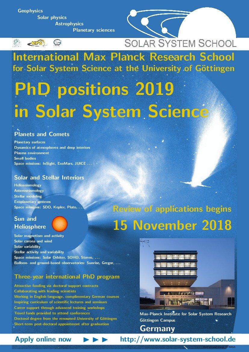 Do a PhD in astrophysics in Germany: The Solar System School invites applications for PhD positions in astrophysics / stellar physics / solar physics / planetary science in Göttingen with an application deadline of 15 November 2018.(IMPRS Poster 2018)