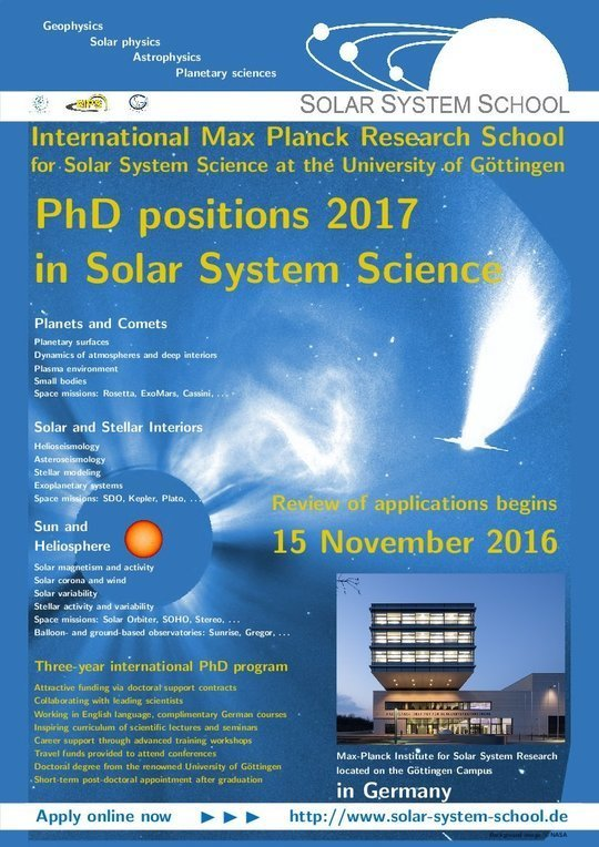 Do a PhD in astrophysics in Germany: The Solar System School invites applications for PhD positions in astrophysics / stellar physics / solar physics / planetary science in Göttingen with an application deadline of 15 November 2016.<br />(IMPRS Poster 2016)